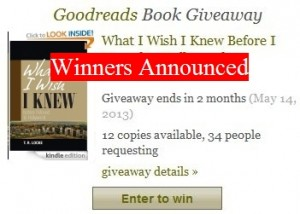 Goodreads Giveaway Winners